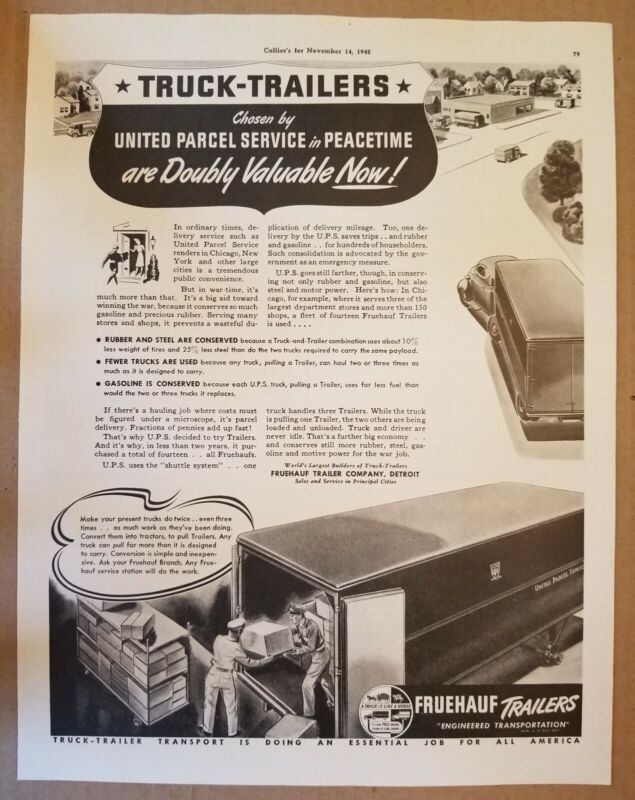 VINTAGE FRUEHAUF TRAILER/ UPS PAPER ADVERTISEMENT.
