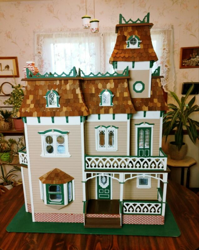 DELIVERY AVAILABLE! MONUMENTAL 1:12 Wooden Victorian Mansion Dollhouse Vintage