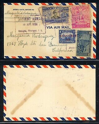 Nicaragua 75th Ann Postal History: LOT #48 1938 Air MANAGUA - SAN FRANCISCO $$$
