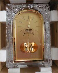 Crystal Seiko Quartz Mantle Shelf Desk Clock Gold Japan Ref QQZ127S Vintage NIB