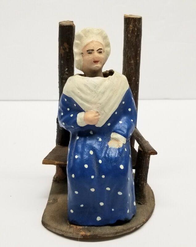 """Antique Martha Washington in Chair Paper Mache Nodder German Candy Container 5"""""""