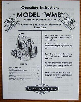 Briggs Stratton Model Wmb Operating Instructions Adjustment Repair Info Manual