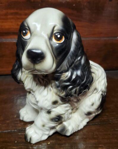 Antique Ceramic English Springer Spaniel Dog Puppy Black White Planter Vintage
