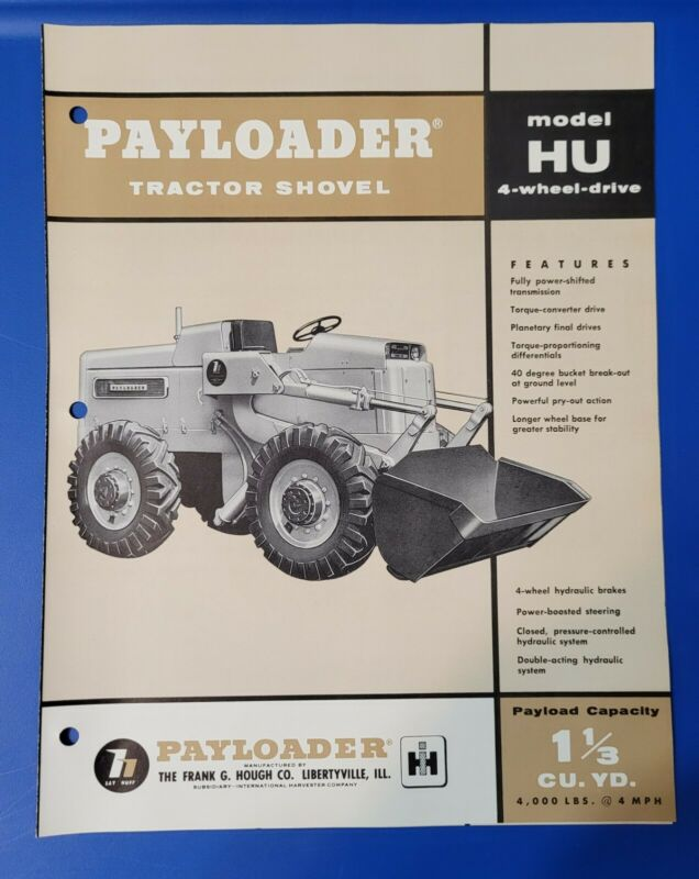 Model HU International Harvester Hough Payloader Tractor Shovel Vintage Brochure