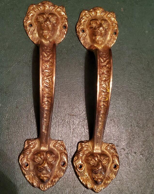 "Vintage 2 Lion Head Brass Door Handle Pull Heavy Duty 8 3/4"""