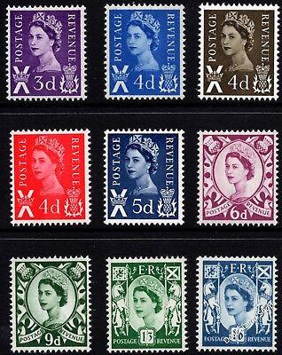 1958 - 1970 Scotland Basic Set of 9 Pre-Decimal Definitives Unmounted Mint