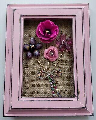 Vintage Jewelry Art  Framed 5x7 Flower Bouquet Pink Shabby Chic Decor