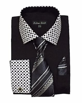 Men's French Cuff Dress Shirt with Tie and Hanky Set #630 Black, White, (Black Dress Shirt Tie)