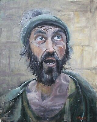 Original Oil Painting Acts 3 Beggar Completely Healed Miracle Bible 16x20 Haigh Complete Oil Painting