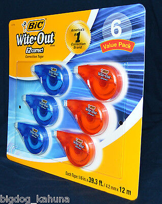 Bic Wite White Out Correction Tape 6 Pack Ez Correct