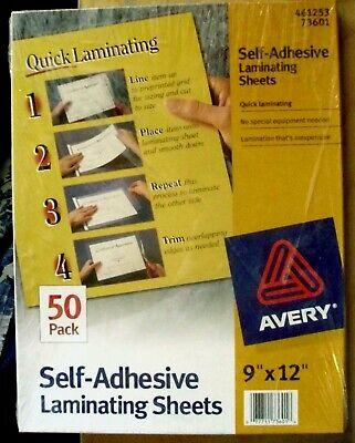 Avery Self-adhesive Laminating Sheets - 50 Sheets - 9x12 - Never Opened 73601