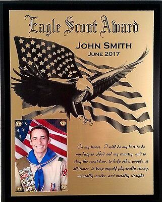 Eagle Scout Award - Laser engraved plaque, personalized with name and date Laser Engraved Award Plaque