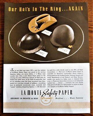 Spanish American  War, WWI, WWII Milatary Headgear ,WWII Ad, original