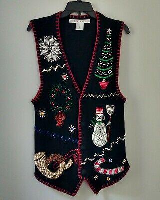 VICTORIA JONES Ugly Christmas Vest Sweater Beaded Ramie Cotton Sleeveless Size S](Ugly Christmas Sweater Women)
