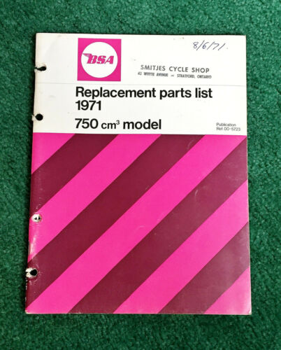 ORIGINAL 1971 BSA MOTORCYCLE PARTS MANUAL CATALOG ROCKET-3 A75 750 TRIPLE