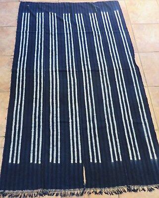 "Vintage Dogon,Mali Resist Dyed, Striped Indigo/Hand Woven Cotton Strips/47""x63"