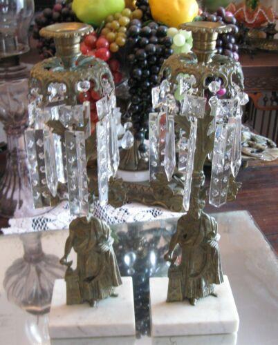 GORGEOUS ANTIQUE ART DECO PAIR GILT BRONZE FIGURAL MANTLE PRISMS CANDLE HOLDERS