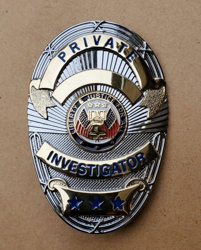 Private Investigator Shield (Gold on Silver) Badge