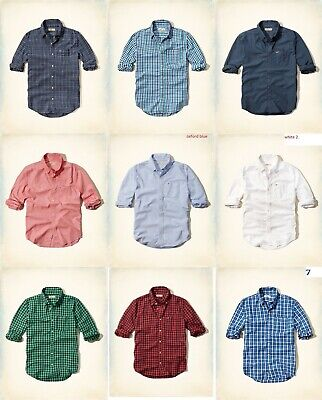 NWT Hollister by Abercrombie A&F men oxford denim linen classic flannel shirts
