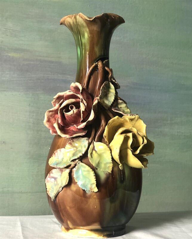 Antique French Barbotine Majolica Vase