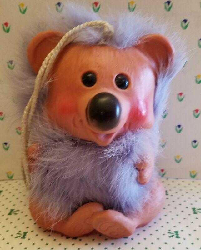 "1960s Vtg Happy Gang Koala Bear 4"" Troll Doll Rauls UK Dam Era Lilac Fur"