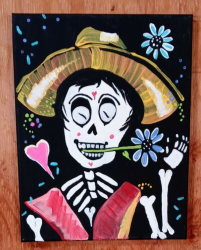 Mexican Folk Art Painting Day Of The Dead Flowers Skull 11x14 Shannon Eaton ART - $0.99