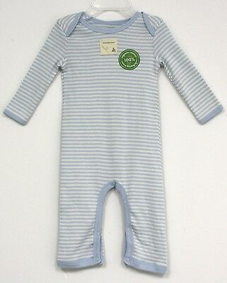 Burts Bees Baby Organic Cotton Outfit long sleeve White Blue striped infant