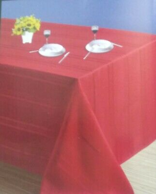 """Satin Stripe Red Oblong Tablecloth Polyester 60""""x84"""" Simply Holiday Home Decor"""