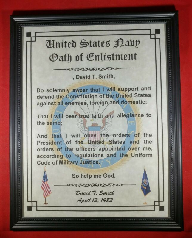 MC-NICE: Oath of Enlistment Certificate NAVY Name & Date PERSONALIZED