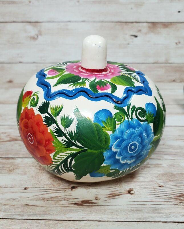 "Mexican Folk Art Lacquered Handpainted Floral Gourd Pumpkin 4"" Tall"
