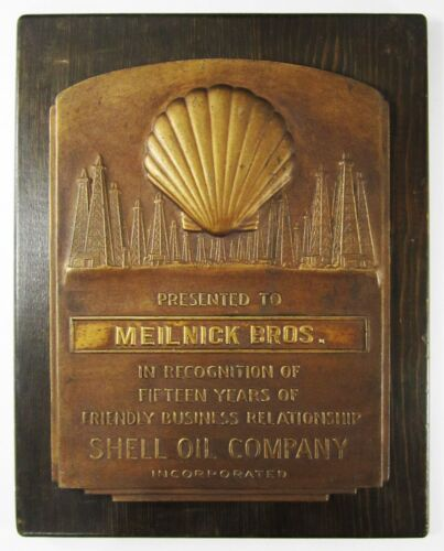 Vtg Shell Oil Bronze Award Plaque Well Derrick Cast Metal Solid Wood Detailed