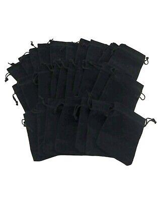 Drawstring Pouches (Lot Black Velvety Drawstring Velour Pouch Jewelry Bag Sets - (5.25