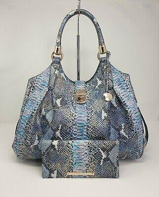 Brahmin NWT Elisa Marine Blue Seville Hobo Handbag and Ady Wallet Set