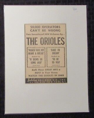 """1949 Jubilee Records THE ORIOLES 4.5x6.25"""" Music Print Ad FN 6.0"""