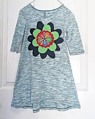 Girl's cotton blend knit Dress, size 6/7, blue, ls, emb. ready made, + guitars