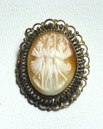 800 silver Italian carved shell cameo pin brooch three graces vintage 1920s