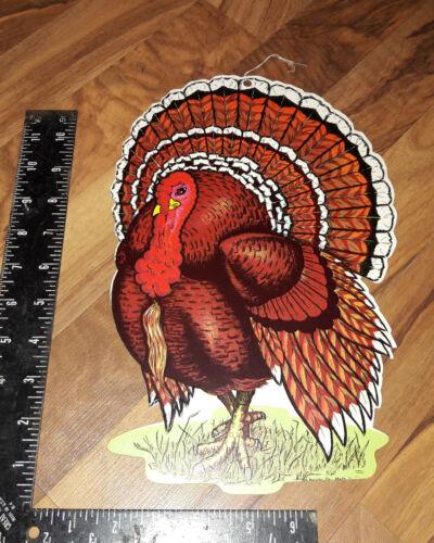 """Vintage Beistle Thanksgiving Decoration Hanging 12"""" Die cut cutout TOM TURKEY Q"""