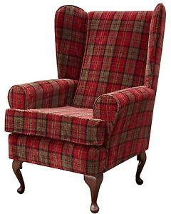 FIRESIDE WING BACK QUEEN ANNE CHAIR SUPERIOR LUXURY BURGUNDY TARTAN FABRIC