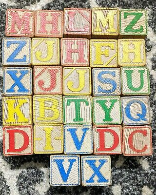 27 Vintage Wooden Childrens Building Blocks Alphabet Numbers ABCs Decoration Toy