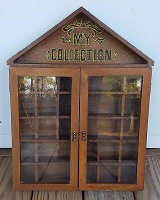 "Vintage Shadow Box Wood Display Case Shelf Curio Cabinet Glass Doors 19"" x 14"""