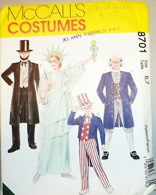 McCall's 8701 Abe Lincoln George Washington Statue of Liberty Uncle Sam Child's for sale  Goldendale