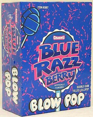 Charms Blow Pops Blue Raspberry Berry Suckers Candy Pop Bulk Lollipops 48 ct - Charms Suckers