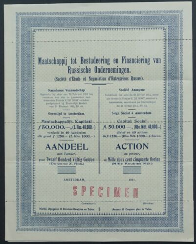 Russia - Company for Study and Financing of Russian Enterprises - 1911 SPECIMEN