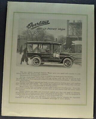 - 1916-1917 Overland 1200 Lb Delivery Wagon Truck Van Brochure Willys Original