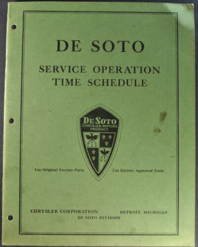 1935 DeSoto Service Time Schedule Airflow Airstream Excellent Original 35