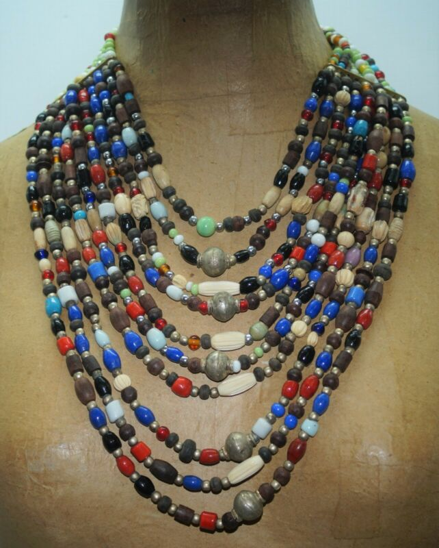 """Colorful Chunky Vintage Wood Glass Trade Bead Waterfall  Bib Necklace 18"""""""
