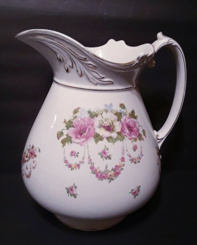 "Vintage Wash Pitcher Rose Flower Swags Large 11"" White w/Gold"
