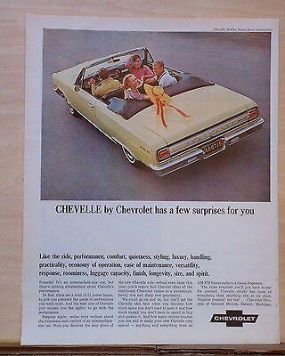 1965 magazine ad for Chevrolet - Chevelle Malibu SS convertible, has surprises  1965 Chevelle Malibu Convertible