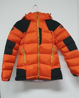 Millet Womens Removable Hood Orange Fill Goose Down Puffer Jacket size:S
