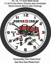 PORTER CABLE POWER TOOLS WALL CLOCK-ADD COMPANY NAME FREE!